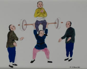 Chinese Circus Weight Lifting photogrpah
