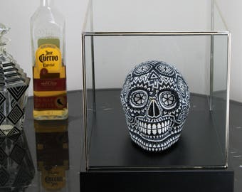 Beaded Mexican Huichol Skull in Display Case, Black & White Glass