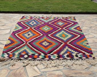 shiny turkish area rug,vintage style,anatolian kilim rug,8.2''x5.2''feet,252x159cm.