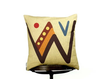 "Creative unique typography letter W - bright color pillow cover, 16x16"", cotton cushion art cover, light yellow color, Child-safe printing."