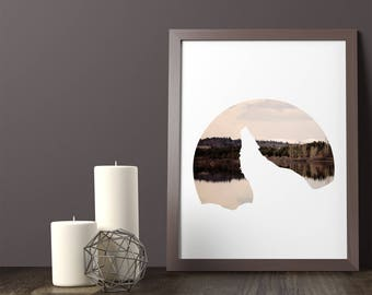 Wolf, Lake, Wolf Print, Wolf Poster, Lake Photo, Water Reflection, Printable Art, Modern Wall Art, Home Decor, Wall Decor,