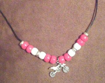 Pretty pink for your Valentine!! Motocross necklace with dirtbike pendant and pink beads.