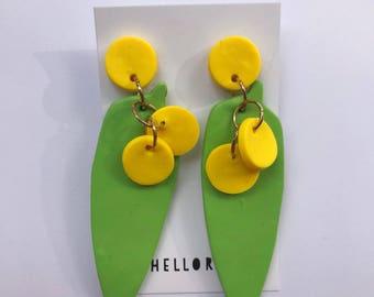 Australian wattle earrings polymer clay statement dangle earrings / australian icon earrings / aussie icon earrings