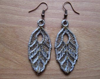 Embroidered Lace Silver/Gold Feather Earrings