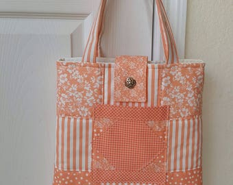 Positively Peachy Quilted Tote Bag