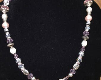 "Pink, White and Silver 26"" Beaded Necklace"