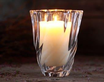 French antique ART DECO vase 50's signed.  French candlestick. French glass vase. French vintage vase. French glass candlestick. Glass pot.