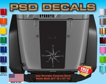 Jeep Decals Jeep Wrangler Blackout Compass Vinyl Hood Decal H-169