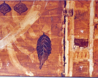 "Leaves Brown 12""x24"" acrylic on board w/ varnish, wood backing, ready to hang"