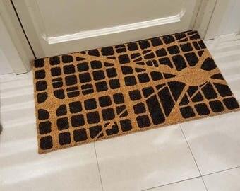 Hand painted doormat-EIXAMPLE MAP BARCELONA
