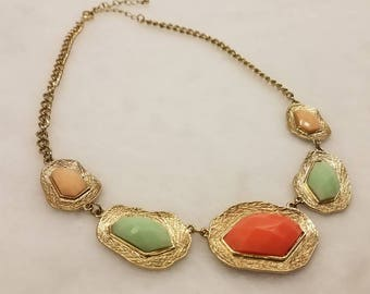 Beautiful gold tone multi colored stone bib necklace