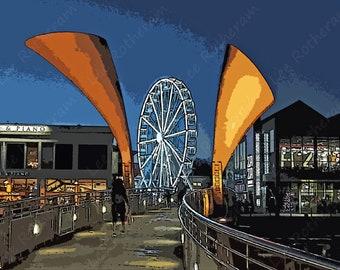 Perot's Bridge Bristol Harbourside Digital Art Print