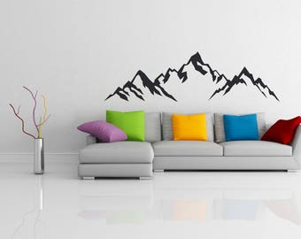 Wall Decal Mountain On Grey White Background Wallpaper Wall Decor Wall Sticker Wallpaper Room Design