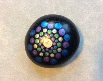 Painted Pebble   Metallic Mandala on Black