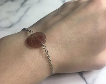 Minimalist Strawberry Quartz Bracelet