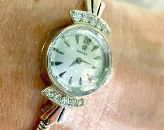 Lady's Omega 14KT White Gold Diamond Watch