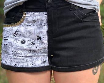 Upcycled Shorts/ Mickey Comic