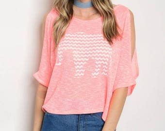 Neon Coral Top with Elephant