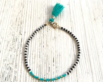 Black and white Miyuki beaded bracelet with turquoise tassel-turquoise