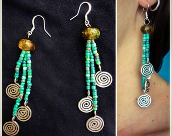 Mexican amber turquoise glass bead dangle earrings