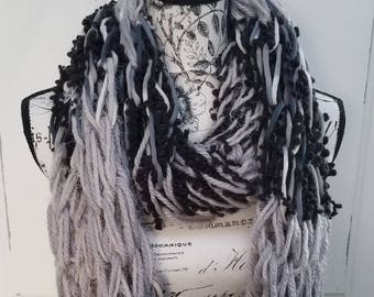 Handmade, Chunky Infinity Scarf, Cream, Black, Gray, Cozy, Warm, Soft, Textures, Woman Fashion