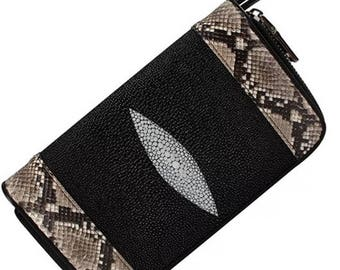 vintage shagreen stingray&print Purse VintageGB craft Leather Bifold Wallet ID