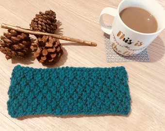 Turquoise Hand Knitted Women's Headband And Earwarmer