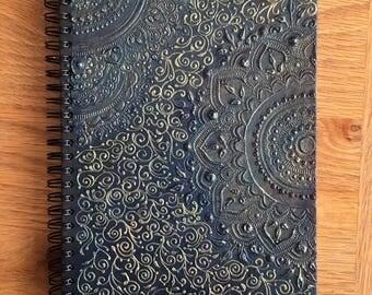 Hand Designed A5 Navy Blue/Emerald/Gold Notebook