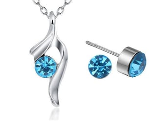 Jewelry Set Necklace & Stud earrings * Silver light blue