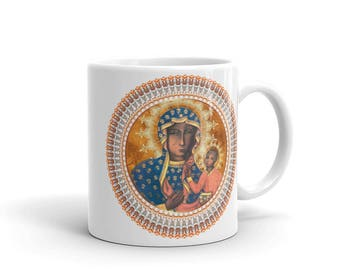 Black Madonna of Częstochowa ceramic mug - catholic gift idea - catholic gifts - Virgin Mary art - Virgin Mary icon