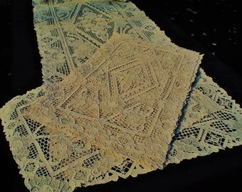 Antique Italian Hand Made Reticella Needle Lace Table Linens 14 pc Set Never Used Original Condition