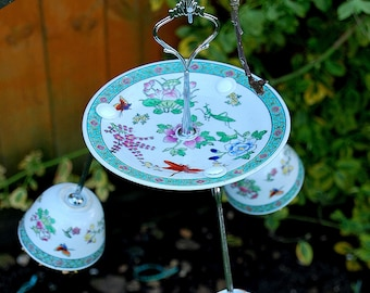 Up-cycled Vintage Chinese China Bird Feeder