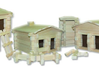 Roy Toy Earth Friendly 250 pc. Log Building Set, Made in the USA