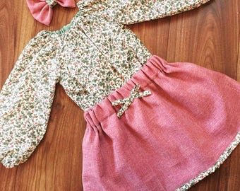 Girls skirt, floral blouse and bow set