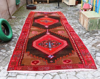 Very Unique Anatolian Vintage Turkish Rug Free Shipping Rare Nomadic Rug 5.4 x 15.6 ft. Natural Color Handknotted Rug Aztec Rug MB244