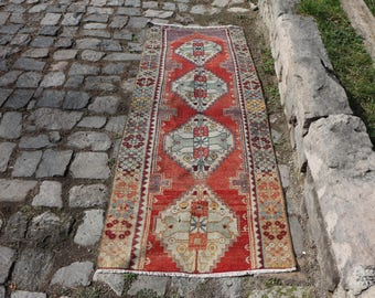 handknotted rug cropped pile rug Free Shipping  2.6 x 7.4 ft. boho runner, oushak rug area rug rustic rug eclectic rug long size MB258
