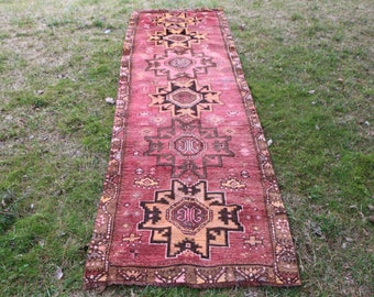 Very rare kars rug Free Shipping pink runner rug 3.3 x 11.1 ft. organic runner area rug decorative hall rug bohemian kitchen rug  MB403