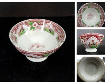 Antique PV France Transferware Bowl with Quails PORTIEUX VALLERYSTHAL Polychrome