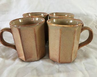 4 x VINTAGE Mugs - Hexagonal Shape - TAMS Made in England