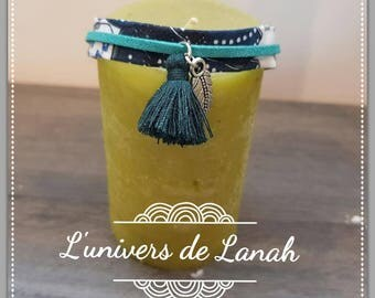 Blue floral fabric bracelet, blue green suede and green tassel