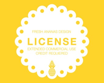 License: Extended Commercial Use, Credit Required - valid for 1 graphic set - for up to 1000 products or up to 200 yards of fabric