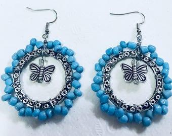 Butterfly Beaded Earrings