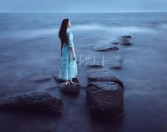 Sea digital background, sea backdrop, mystic background, sea photography, stone, water background, path backdrop, evening, fog, mist