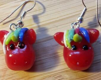 Earrings red Unicorn earrings