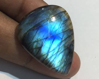 41.3 Cts 100% Natural Medagascar's Labradorite Cabochon Blue Flash Fire Polished Cabochon Healing Quartz Pear Shape 34x27x5 mm N#1272-8