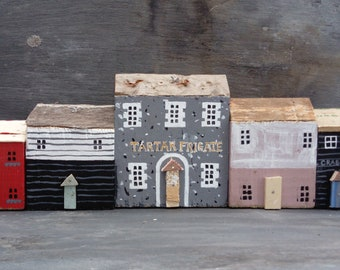 Broadstairs Tartar Frigate Pub Kent.Handmade Driftwood Cottages Houses Coastal Ornament scene.Gift.Beach Art.Rustic.Found.Kent.Oysters.Model