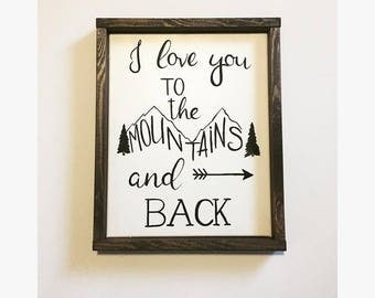 i love you to the mountains and back nursery art