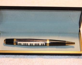 Handturned Piano Inlayed Pen in a Black Velour Case