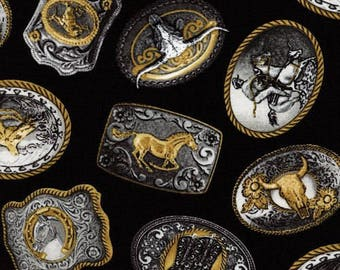 Western Fabric, Rodeo, Western Belt Buckles Black - Timeless Treasures West-C1615, Cowboy Fabric, 10175