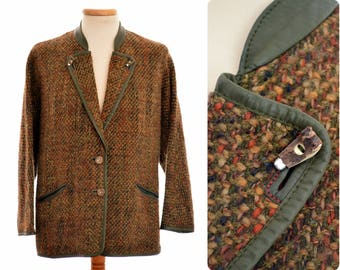 Austrian wool JACKET by Resi Hammerer / womens size D 44 large / pure new wool with real leather trim and antler buttons / loden Wien